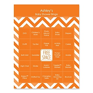 Orange Chevron - Bingo Personalized Baby Shower Games - 16 Count
