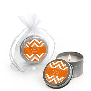 Orange Chevron - Candle Tin Personalized Baby Shower Favors
