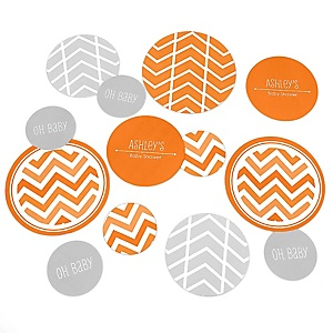 Chevron Orange - Personalized Baby Shower Table Confetti - 27 ct
