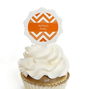 Orange Chevron - 12 Cupcake Picks & 24 Personalized Stickers - Baby Shower Cupcake Toppers