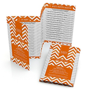 Orange Chevron - Fabulous 5 Personalized Baby Shower Games