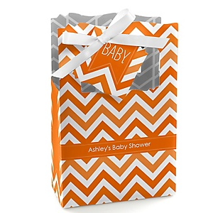 Chevron Orange - Personalized Baby Shower Favor Boxes
