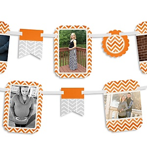 Orange Chevron - Baby Shower Photo Bunting Banner