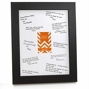 Chevron Orange - Personalized Baby Shower Signature Mat Gift