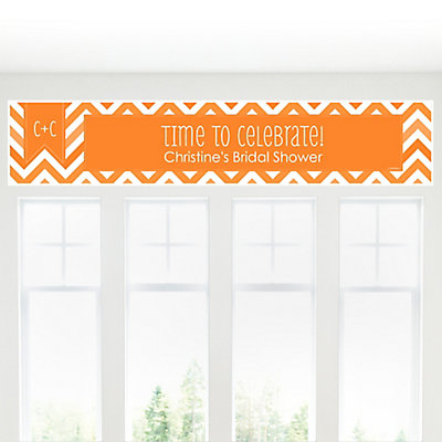Chevron Orange - Personalized Bridal Shower Banners...