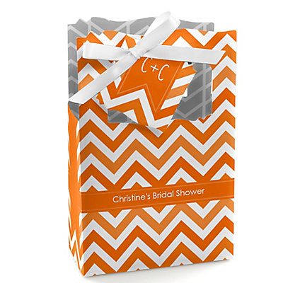 Chevron Orange - Personalized Bridal Shower Favor Boxes...