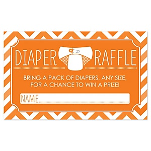 Chevron Orange - Diaper Raffle Baby Shower Game - 18 ct