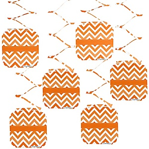 Chevron Orange - Party Hanging Decorations - 6 ct