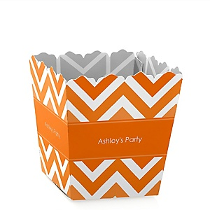 Orange Chevron - Personalized Baby Shower Candy Boxes