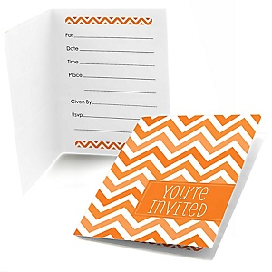 Orange Chevron - Fill In Baby Shower Invitations - Set of  8
