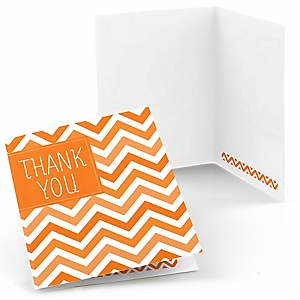 Chevron Orange - Party Thank You Cards - 8 ct