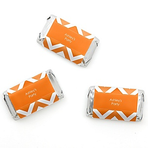 Chevron Orange - Personalized Mini Candy Bar Wrapper Sticker Label Party Favors - 20 ct