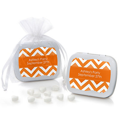 Orange Chevron - Mint Tin Personalized Baby Shower Favors...