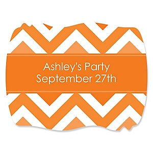 Chevron Orange - Personalized Party Squiggle Stickers - 16 ct