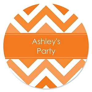 Chevron Orange - Personalized Party Sticker Labels - 24 ct