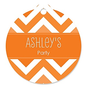 Chevron Orange - Personalized Party Round Tags - 20 ct
