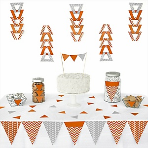 Chevron Orange - 72 Piece Triangle Party Decoration Kit