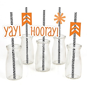 Chevron Orange - Paper Straw Decor - Baby Shower or Birthday Party Striped Decorative Straws - Set of 24