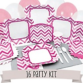 Pink Chevron - 16 Person Baby Shower Kit