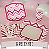 Chevron Pink - 8 Person Birthday Party Kit