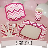 Pink Chevron - 8 Person Baby Shower Kit