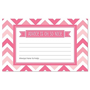 Pink Chevron - Baby Shower Helpful Hint Advice Cards Game - 18 Count