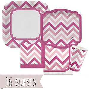 Pink Chevron - Baby Shower Tableware Bundle for 16 Guests