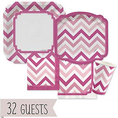 Chevron Pink Baby Shower Tableware - 32 Big Dot Bundle