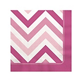 Pink Chevron - Baby Shower Beverage Napkins - 16 Pack