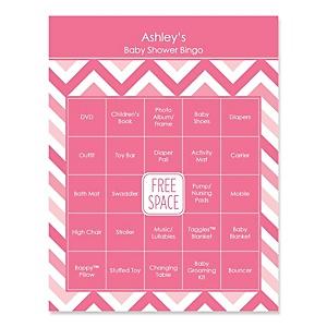 Pink Chevron - Bingo Personalized Baby Shower Games - 16 Count