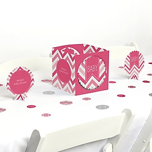 Chevron Pink - Baby Shower Centerpiece & Table Decoration Kit