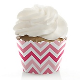 Pink Chevron - Baby Shower Cupcake Wrappers