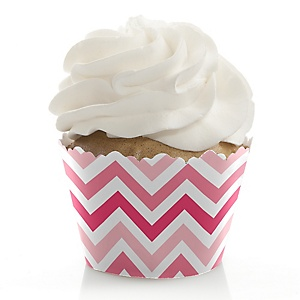 Chevron Pink - Baby Shower Cupcake Wrappers & Decorations