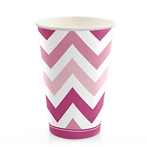 Pink Chevron - Baby Shower Hot/Cold Cups - 8 Pack