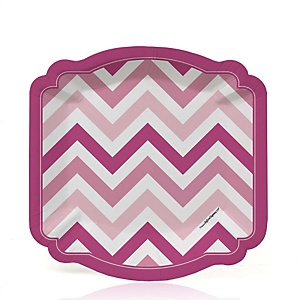 Pink Chevron - Baby Shower Dessert Plates - 8 Pack