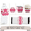 Chevron Pink - 40 Piece Personalized Baby Shower Party Kit