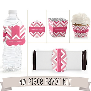 Pink Chevron - Do It Yourself 40 Piece Personalized Party Kit