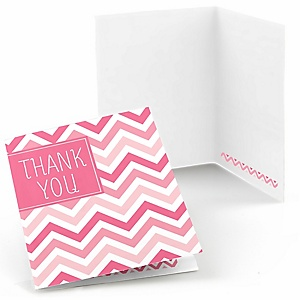 Chevron Pink - Baby Shower Thank You Cards - 8 ct