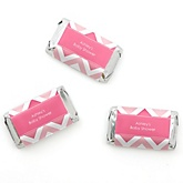 Pink Chevron - Personalized Baby Shower Mini Candy Bar Wrapper Favors - 20 ct