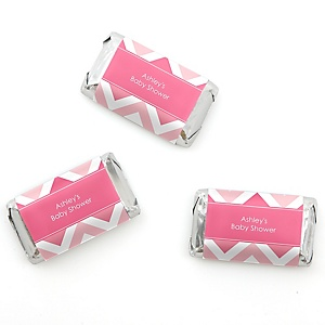Chevron Pink - Personalized Baby Shower Mini Candy Bar Wrapper Favors - 20 ct