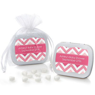 Pink Chevron - Mint Tin Personalized Baby Shower Favors...