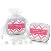 Pink Chevron - Mint Tin Personalized Baby Shower Favors