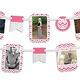 Pink Chevron - Baby Shower Photo Bunting Banner