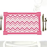 Pink Chevron - Personalized Baby Shower Placemats