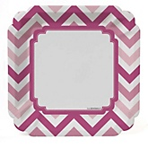 Pink Chevron - Baby Shower Dinner Plates - 8 Pack