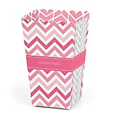 Chevron Pink - Personalized Party Popcorn Favor Boxes