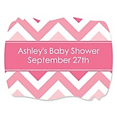 Pink Chevron - Personalized Baby Shower Squiggle Sticker Labels - 16 Count