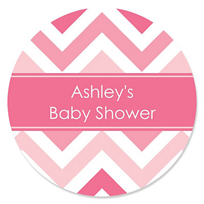 Chevron Pink   Personalized Baby Shower Sticker Labels   24 Ct