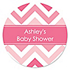 Chevron Pink - Personalized Baby Shower Sticker Labels - 24 ct