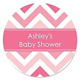Pink Chevron - Personalized Baby Shower Round Sticker Labels - 24 Count
